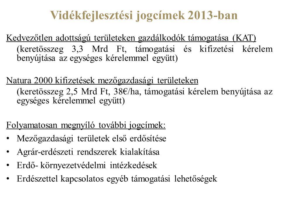 Vidékfejlesztési jogcímek 2013-ban Kedvezőtlen adottságú területeken gazdálkodók támogatása (KAT) (keretösszeg 3,3 Mrd Ft, támogatási és kifizetési ké