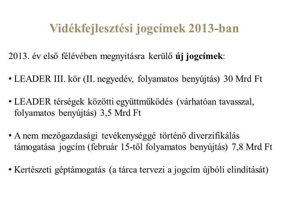 Vidékfejlesztési jogcímek 2013-ban 2013. év első félévében megnyitásra kerülő új jogcímek: LEADER III. kör (II. negyedév, folyamatos benyújtás) 30 Mrd