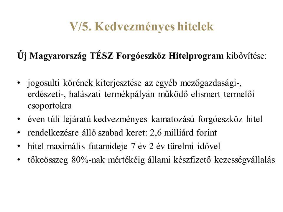 V/5. Kedvezményes hitelek Új Magyarország TÉSZ Forgóeszköz Hitelprogram kibővítése: jogosulti körének kiterjesztése az egyéb mezőgazdasági-, erdészeti