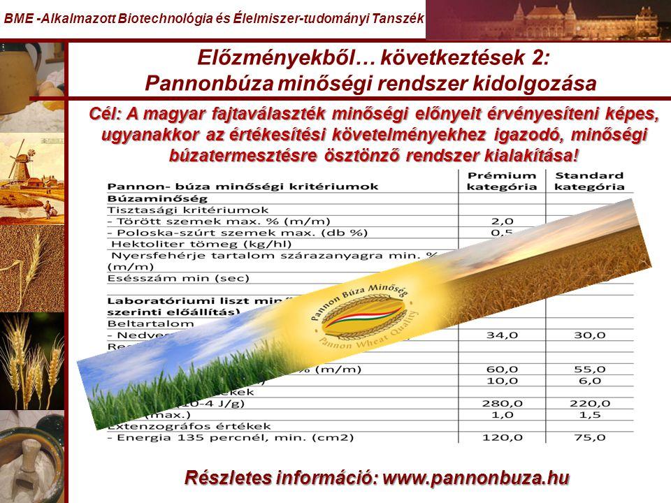 Előzményekből… következtések 2: Pannonbúza minőségi rendszer kidolgozása BME -Alkalmazott Biotechnológia és Élelmiszer-tudományi Tanszék Cél: A magyar fajtaválaszték minőségi előnyeit érvényesíteni képes, ugyanakkor az értékesítési követelményekhez igazodó, minőségi búzatermesztésre ösztönző rendszer kialakítása.