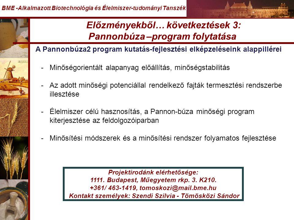 Előzményekből… következtések 3: Pannonbúza –program folytatása BME -Alkalmazott Biotechnológia és Élelmiszer-tudományi Tanszék A Pannonbúza2 program kutatás-fejlesztési elképzeléseink alappillérei -Minőségorientált alapanyag előállítás, minőségstabilitás -Az adott minőségi potenciállal rendelkező fajták termesztési rendszerbe illesztése -Élelmiszer célú hasznosítás, a Pannon-búza minőségi program kiterjesztése az feldolgozóiparban -Minősítési módszerek és a minősítési rendszer folyamatos fejlesztése Projektirodánk elérhetősége: 1111.