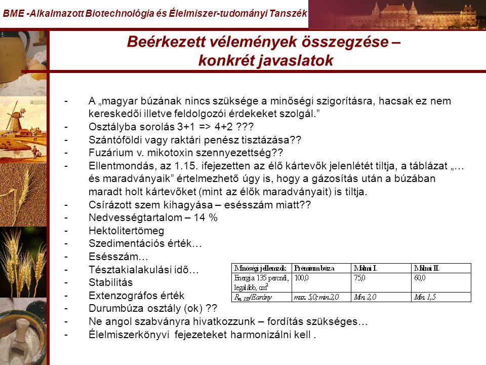 """Beérkezett vélemények összegzése – konkrét javaslatok BME -Alkalmazott Biotechnológia és Élelmiszer-tudományi Tanszék -A """"magyar búzának nincs szüksége a minőségi szigorításra, hacsak ez nem kereskedői illetve feldolgozói érdekeket szolgál. -Osztályba sorolás 3+1 => 4+2 ??."""