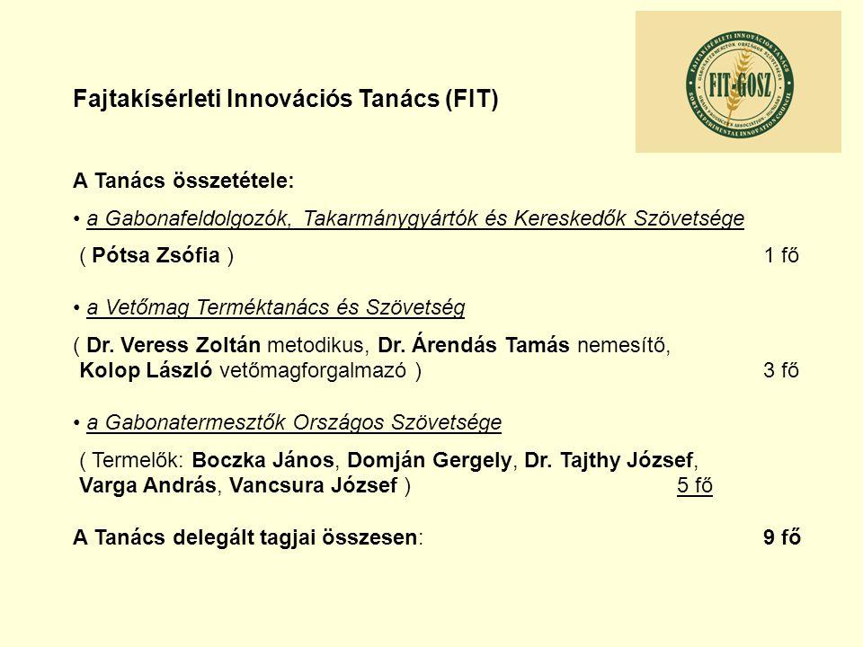 Fajtakísérleti Innovációs Tanács (FIT) A Tanács összetétele: a Gabonafeldolgozók, Takarmánygyártók és Kereskedők Szövetsége ( Pótsa Zsófia ) 1 fő a Ve