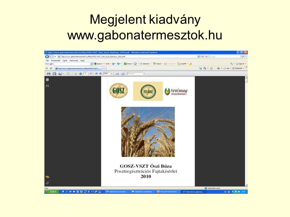 Megjelent kiadvány www.gabonatermesztok.hu
