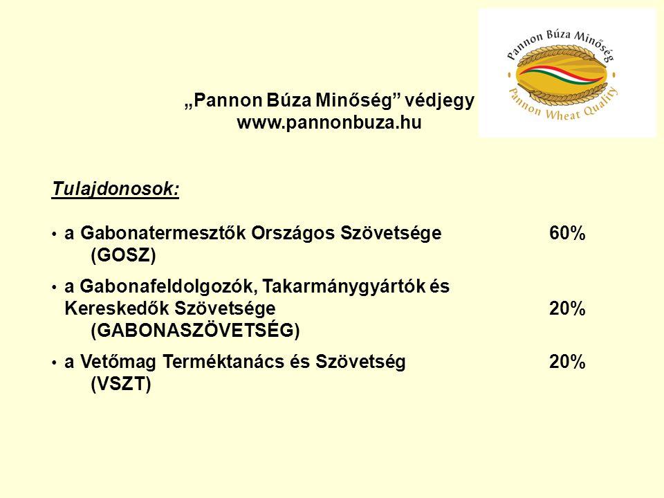 """""""Pannon Búza Minőség"""" védjegy www.pannonbuza.hu Tulajdonosok: a Gabonatermesztők Országos Szövetsége 60% (GOSZ) a Gabonafeldolgozók, Takarmánygyártók"""