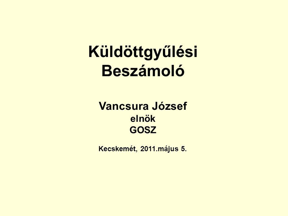 Küldöttgyűlési Beszámoló Vancsura József elnök GOSZ Kecskemét, 2011.május 5.