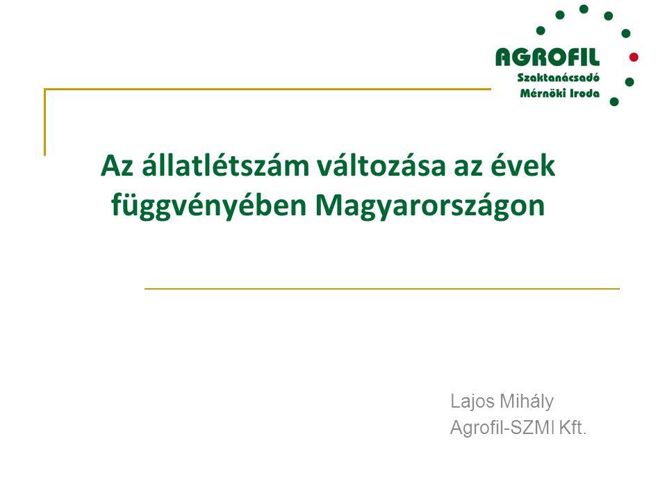 Az állatlétszám változása az évek függvényében Magyarországon Lajos Mihály Agrofil-SZMI Kft.