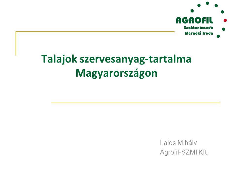 Talajok szervesanyag-tartalma Magyarországon Lajos Mihály Agrofil-SZMI Kft.