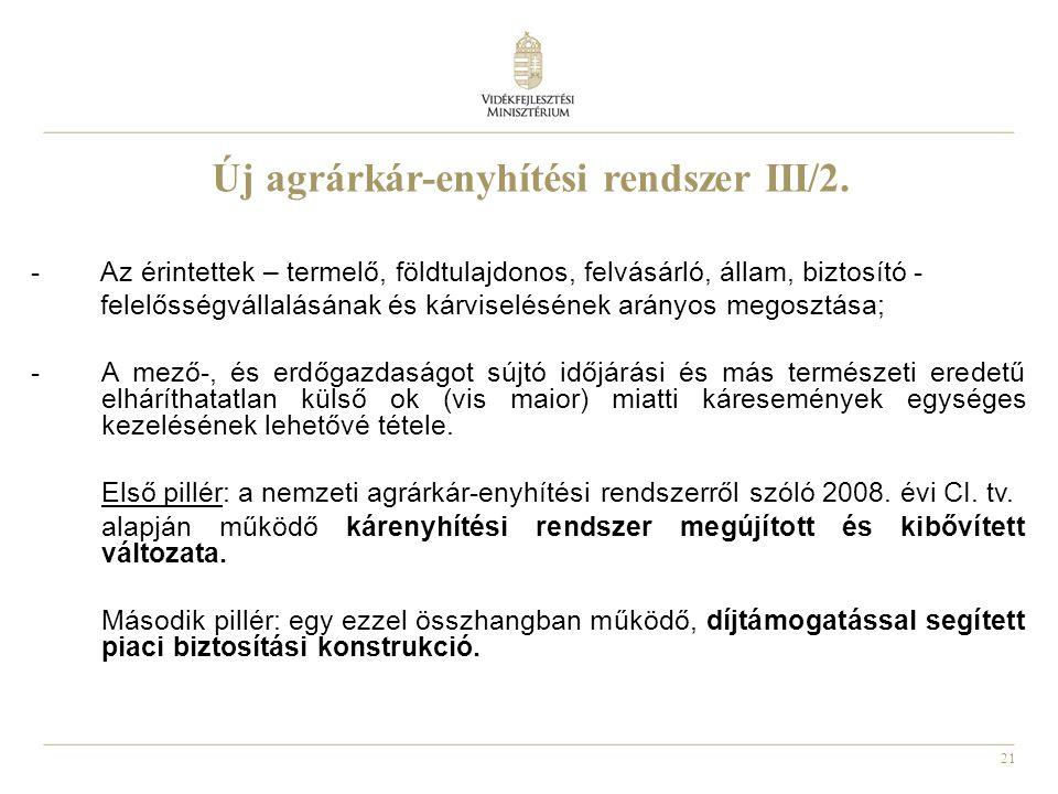 21 Új agrárkár-enyhítési rendszer III/2. - Az érintettek – termelő, földtulajdonos, felvásárló, állam, biztosító - felelősségvállalásának és kárviselé