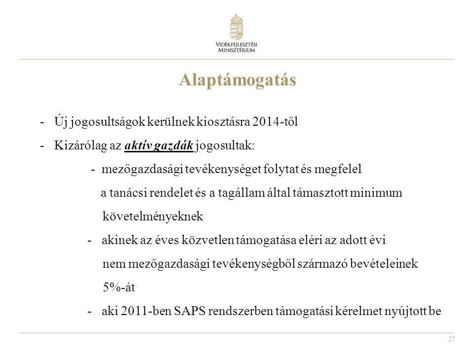 27 Alaptámogatás - Új jogosultságok kerülnek kiosztásra 2014-től - Kizárólag az aktív gazdák jogosultak: - mezőgazdasági tevékenységet folytat és megf
