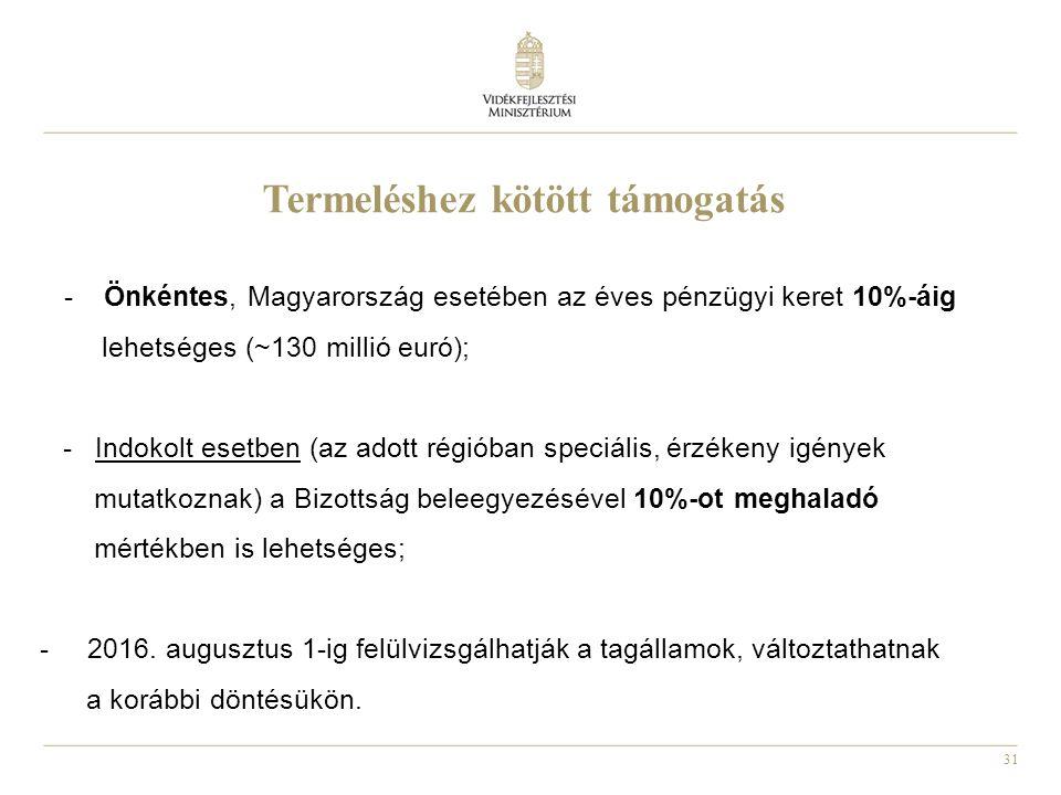 31 Termeléshez kötött támogatás - Önkéntes, Magyarország esetében az éves pénzügyi keret 10%-áig lehetséges (~130 millió euró); - Indokolt esetben (az
