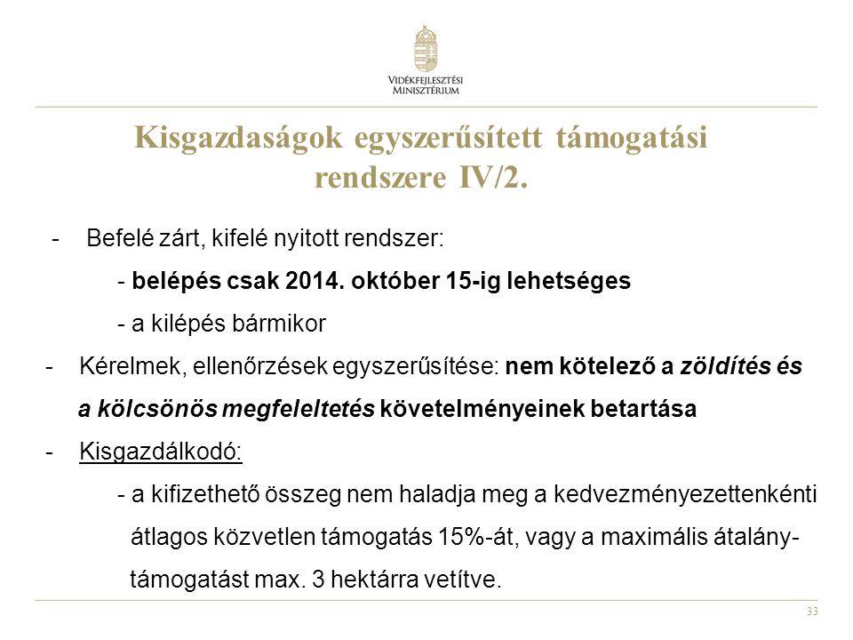 33 Kisgazdaságok egyszerűsített támogatási rendszere IV/2. - Befelé zárt, kifelé nyitott rendszer: - belépés csak 2014. október 15-ig lehetséges - a k