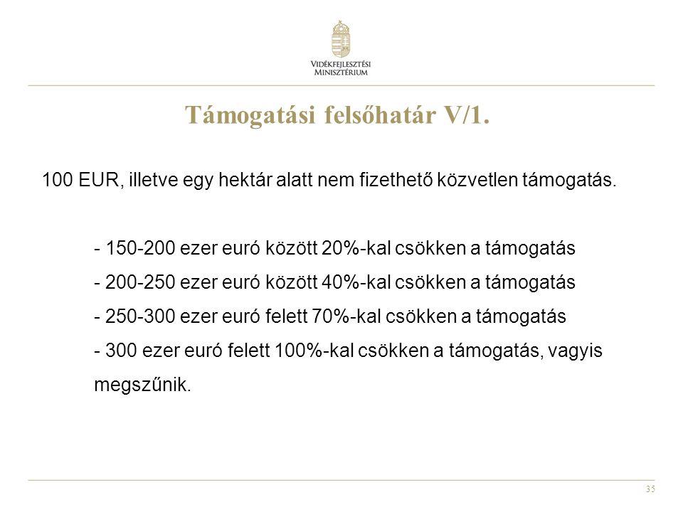 35 Támogatási felsőhatár V/1. 100 EUR, illetve egy hektár alatt nem fizethető közvetlen támogatás. - 150-200 ezer euró között 20%-kal csökken a támoga