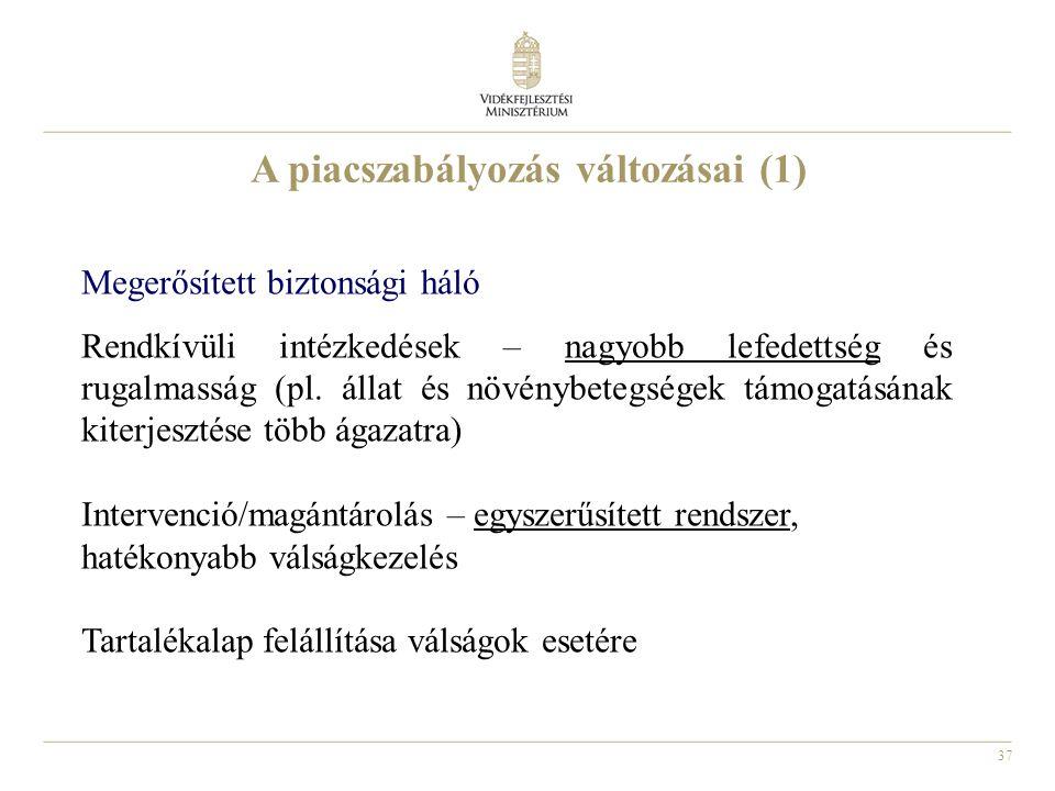 37 A piacszabályozás változásai (1) Megerősített biztonsági háló Rendkívüli intézkedések – nagyobb lefedettség és rugalmasság (pl. állat és növénybete