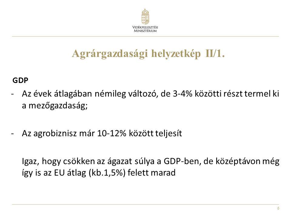 6 Agrárgazdasági helyzetkép II/1. GDP -Az évek átlagában némileg változó, de 3-4% közötti részt termel ki a mezőgazdaság; -Az agrobiznisz már 10-12% k