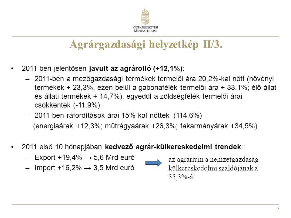 9 Agrárgazdasági helyzetkép II/3. 2011-ben jelentősen javult az agrárolló (+12,1%): –2011-ben a mezőgazdasági termékek termelői ára 20,2%-kal nőtt (nö