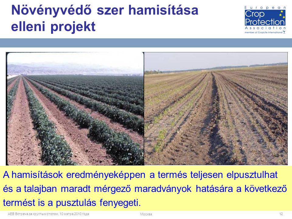 AEB Встреча за круглым столом, 10 матра 2010 года Москва 12 A hamisítások eredményeképpen a termés teljesen elpusztulhat és a talajban maradt mérgező maradványok hatására a következő termést is a pusztulás fenyegeti.