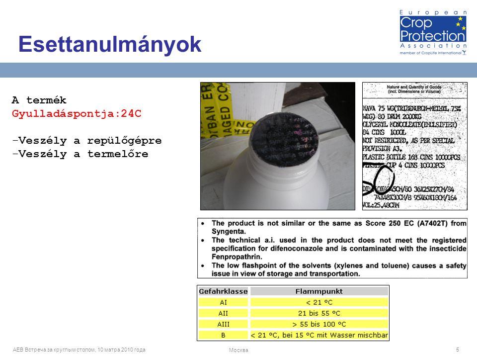 AEB Встреча за круглым столом, 10 матра 2010 года Москва 5 A termék Gyulladáspontja:24C -Veszély a repülőgépre -Veszély a termelőre Esettanulmányok