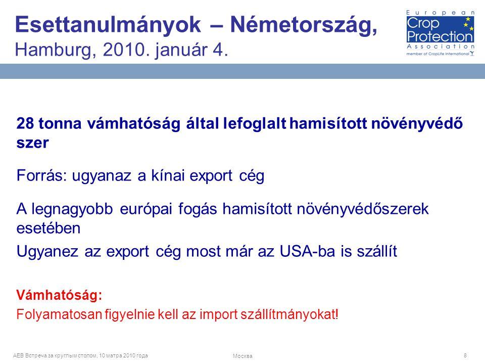 AEB Встреча за круглым столом, 10 матра 2010 года Москва 8 28 tonna vámhatóság által lefoglalt hamisított növényvédő szer Forrás: ugyanaz a kínai export cég A legnagyobb európai fogás hamisított növényvédőszerek esetében Ugyanez az export cég most már az USA-ba is szállít Vámhatóság: Folyamatosan figyelnie kell az import szállítmányokat.