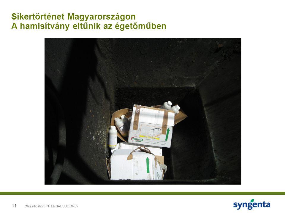 11 Sikertörténet Magyarországon A hamisítvány eltűnik az égetőműben Classification: INTERNAL USE ONLY