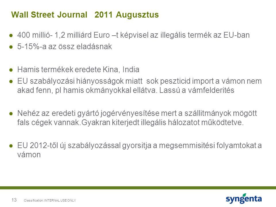 13 Wall Street Journal 2011 Augusztus ●400 millió- 1,2 milliárd Euro –t képvisel az illegális termék az EU-ban ●5-15%-a az össz eladásnak ●Hamis termé