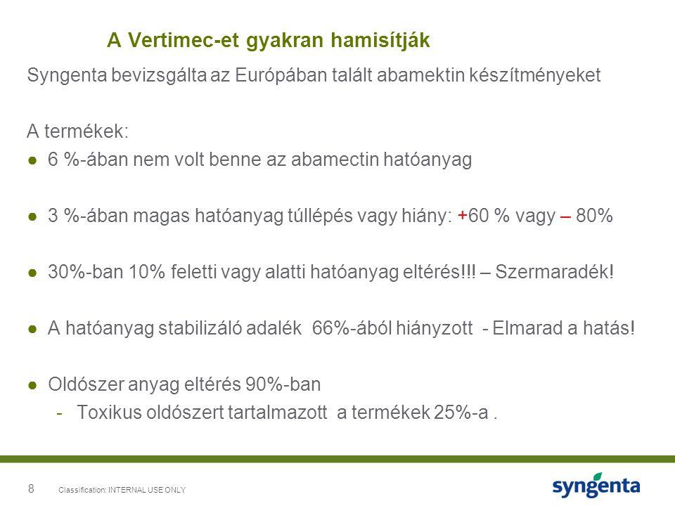 8 A Vertimec-et gyakran hamisítják Syngenta bevizsgálta az Európában talált abamektin készítményeket A termékek: ●6 %-ában nem volt benne az abamectin hatóanyag ●3 %-ában magas hatóanyag túllépés vagy hiány: +60 % vagy – 80% ●30%-ban 10% feletti vagy alatti hatóanyag eltérés!!.