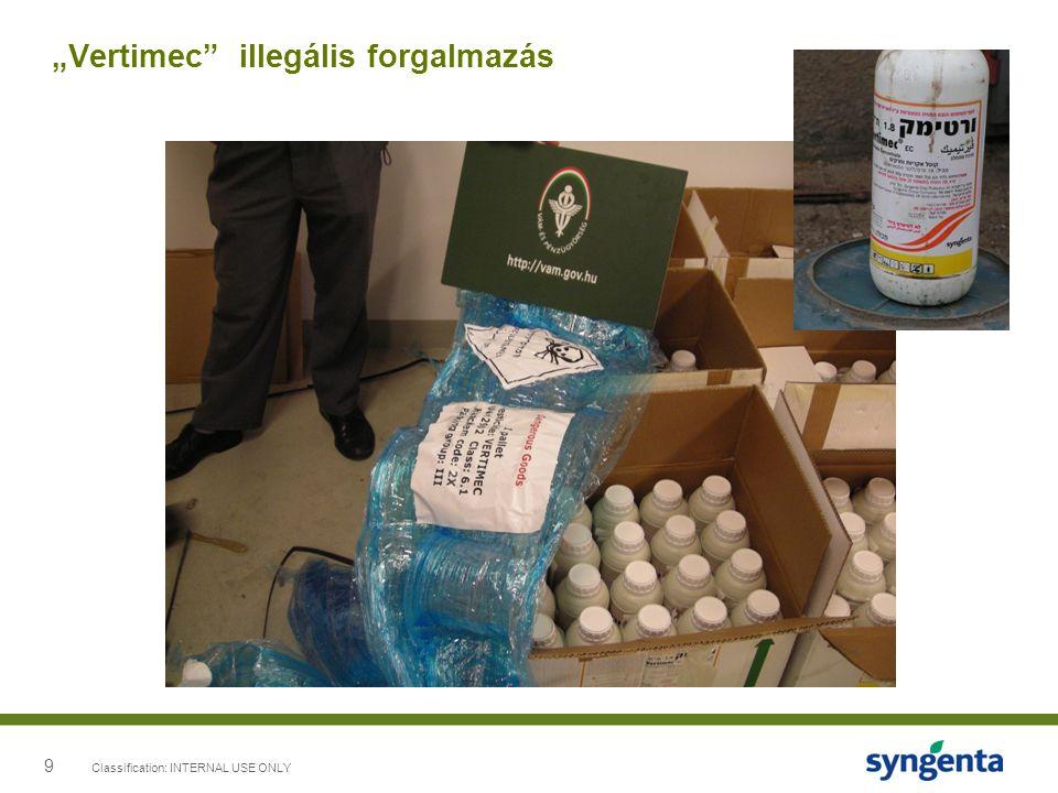 10 Classification: INTERNAL USE ONLY Syngenta cimke Syngenta védjegy a címkén Összetétel nem felelt meg a syngenta termék specifikációnak