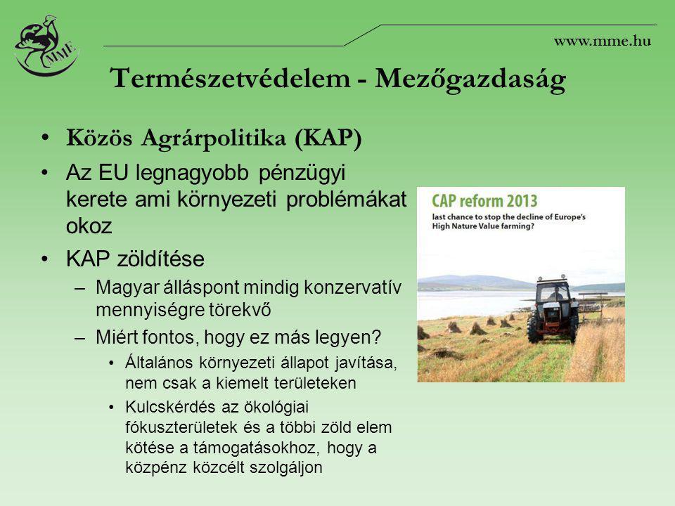 Természetvédelem - Mezőgazdaság Közös Agrárpolitika (KAP) Az EU legnagyobb pénzügyi kerete ami környezeti problémákat okoz KAP zöldítése –Magyar álláspont mindig konzervatív mennyiségre törekvő –Miért fontos, hogy ez más legyen.