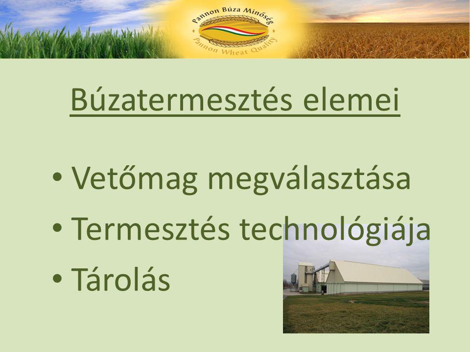 Búzatermesztés elemei Vetőmag megválasztása Termesztés technológiája Tárolás