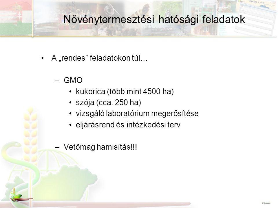 """Növénytermesztési hatósági feladatok A """"rendes feladatokon túl… –GMO kukorica (több mint 4500 ha) szója (cca."""