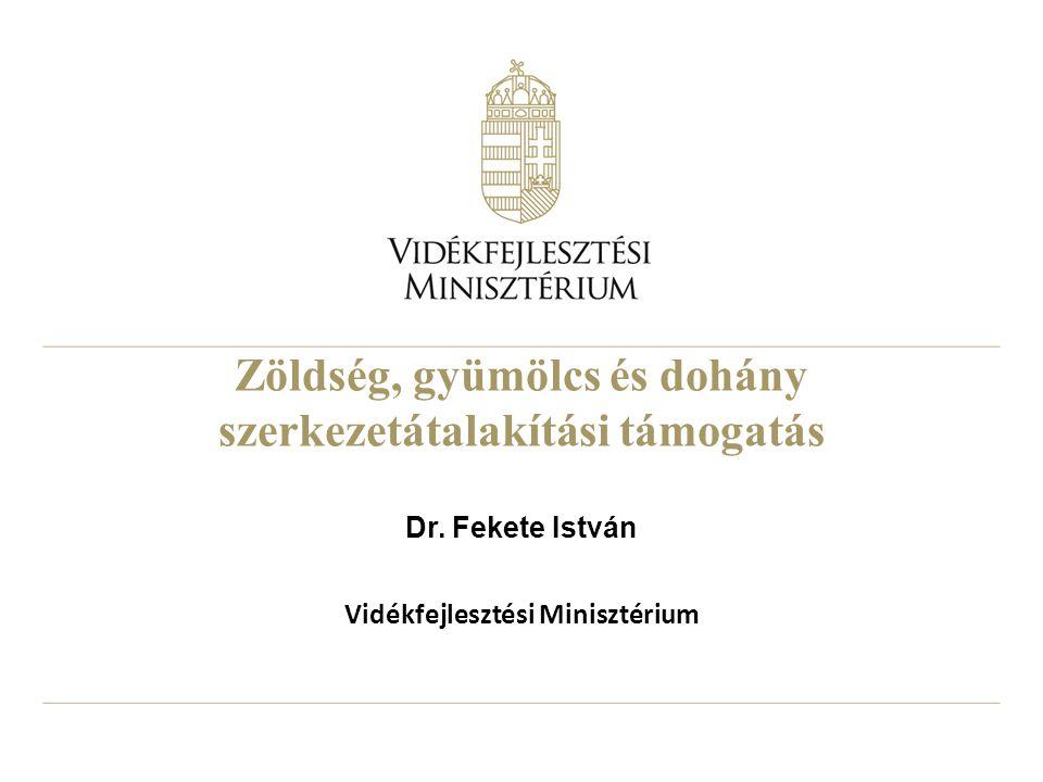 Zöldség, gyümölcs és dohány szerkezetátalakítási támogatás Dr. Fekete István Vidékfejlesztési Minisztérium