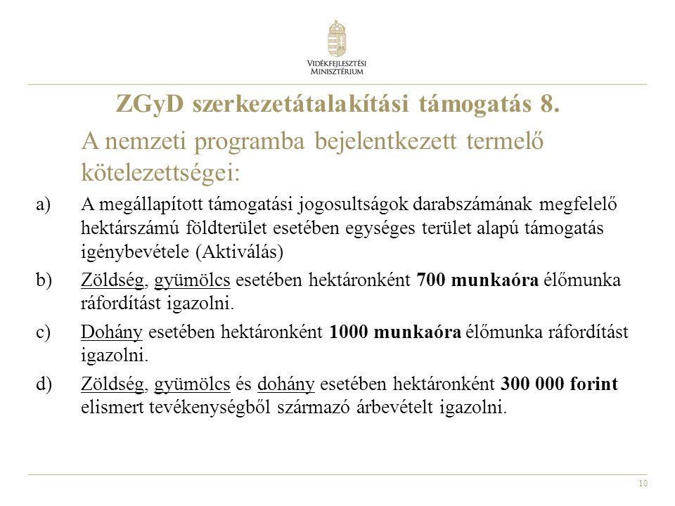 10 ZGyD szerkezetátalakítási támogatás 8. A nemzeti programba bejelentkezett termelő kötelezettségei: a)A megállapított támogatási jogosultságok darab
