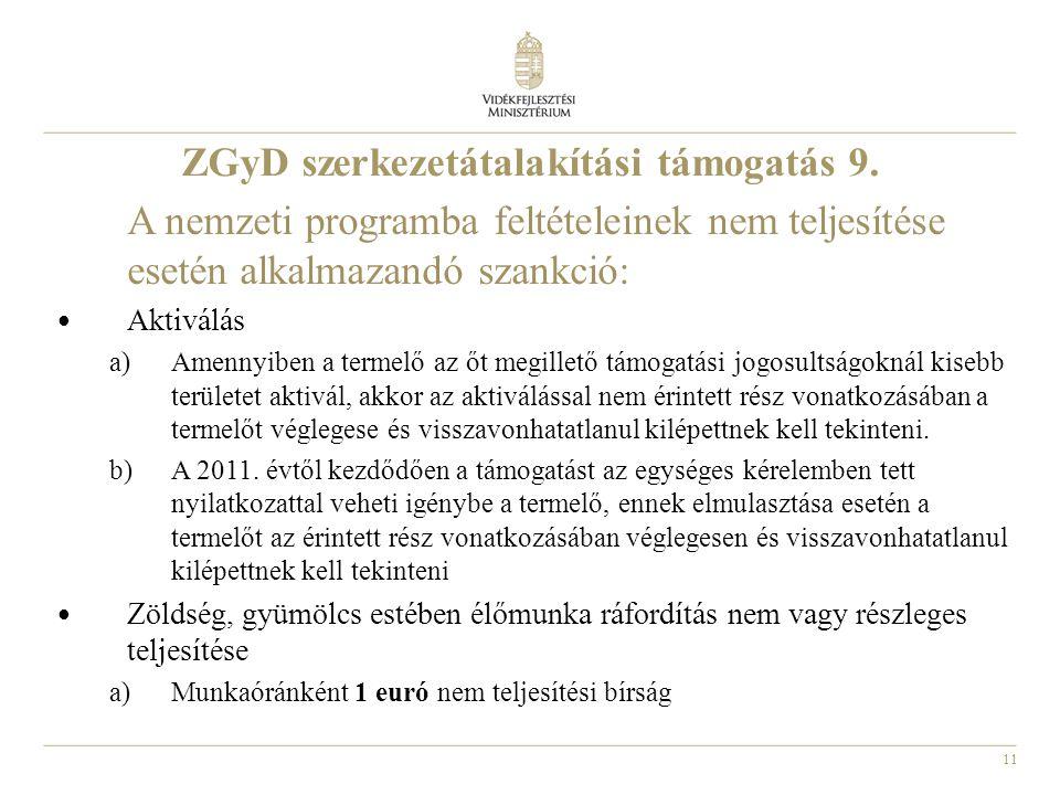 11 ZGyD szerkezetátalakítási támogatás 9. A nemzeti programba feltételeinek nem teljesítése esetén alkalmazandó szankció: Aktiválás a)Amennyiben a ter