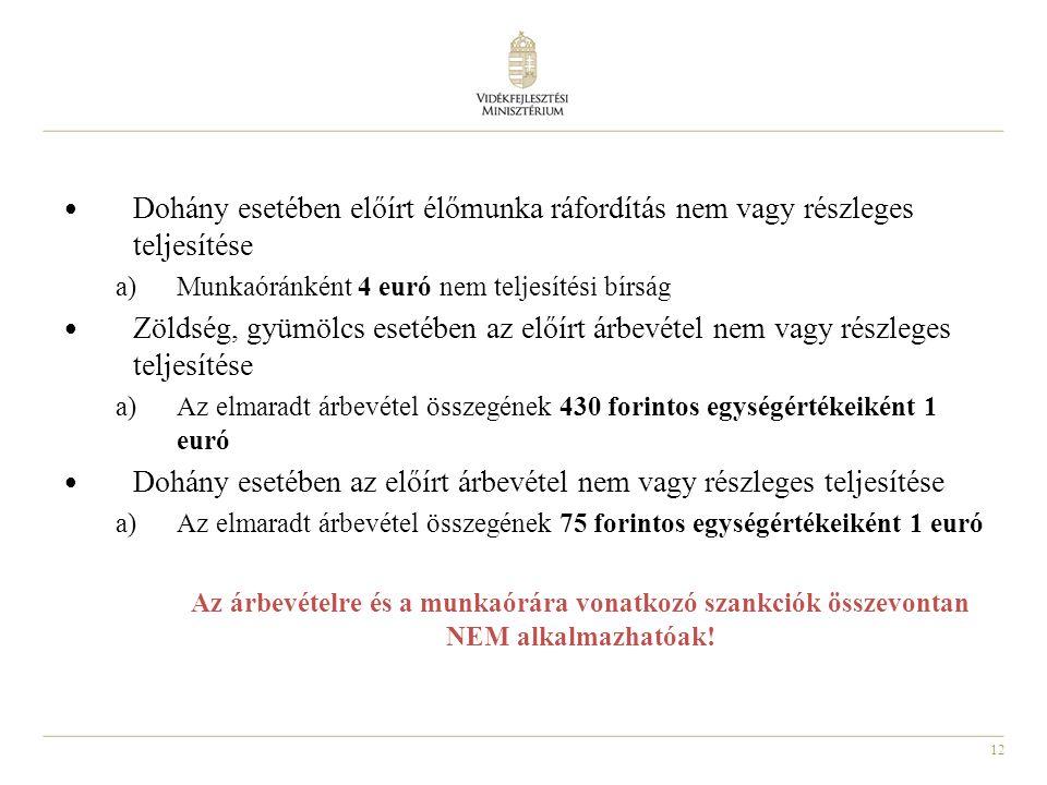 12 Dohány esetében előírt élőmunka ráfordítás nem vagy részleges teljesítése a)Munkaóránként 4 euró nem teljesítési bírság Zöldség, gyümölcs esetében az előírt árbevétel nem vagy részleges teljesítése a)Az elmaradt árbevétel összegének 430 forintos egységértékeiként 1 euró Dohány esetében az előírt árbevétel nem vagy részleges teljesítése a)Az elmaradt árbevétel összegének 75 forintos egységértékeiként 1 euró Az árbevételre és a munkaórára vonatkozó szankciók összevontan NEM alkalmazhatóak!