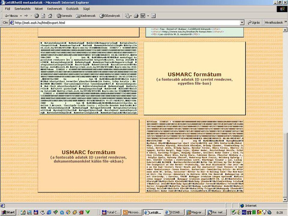 Formátumok Cédula formátum Címkés formátum MARC-formátumok (Hunmarc, Usmarc) XML index.html fejléce + MEK.HTM Export oldal