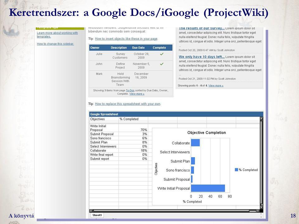 A könyvtári digitalizálási munkafolyamat gyakorlati kérdései18 Keretrendszer: a Google Docs/iGoogle (ProjectWiki)