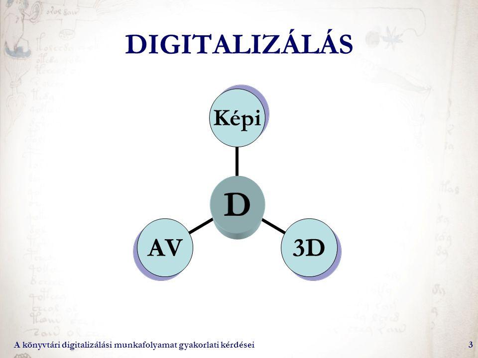 A könyvtári digitalizálási munkafolyamat gyakorlati kérdései24 Beviteli eszközök – általános jellemzők Minőség –felbontás (dpi, ppi) –névleges és tényleges adatok Szoftver jellemzői –Bevitel: –minimum: levilágítási felület, élesség, fényerő, formátum –Utófeldolgozás: –minimum: forgatás, gyári optimalizáló sémák, egyszerű konverzió –Automatikus metaadat-bevitel Állandó környezeti feltételek megtartása –Pormentesítés, világosság, helyigény –Zajtényező Időtényező –Levilágítási/mentési idők –Humán idő (idő/minőség fordított aránya) Analóg formátumok: –Kötet, mikroforma, kép, nagyméretű lap