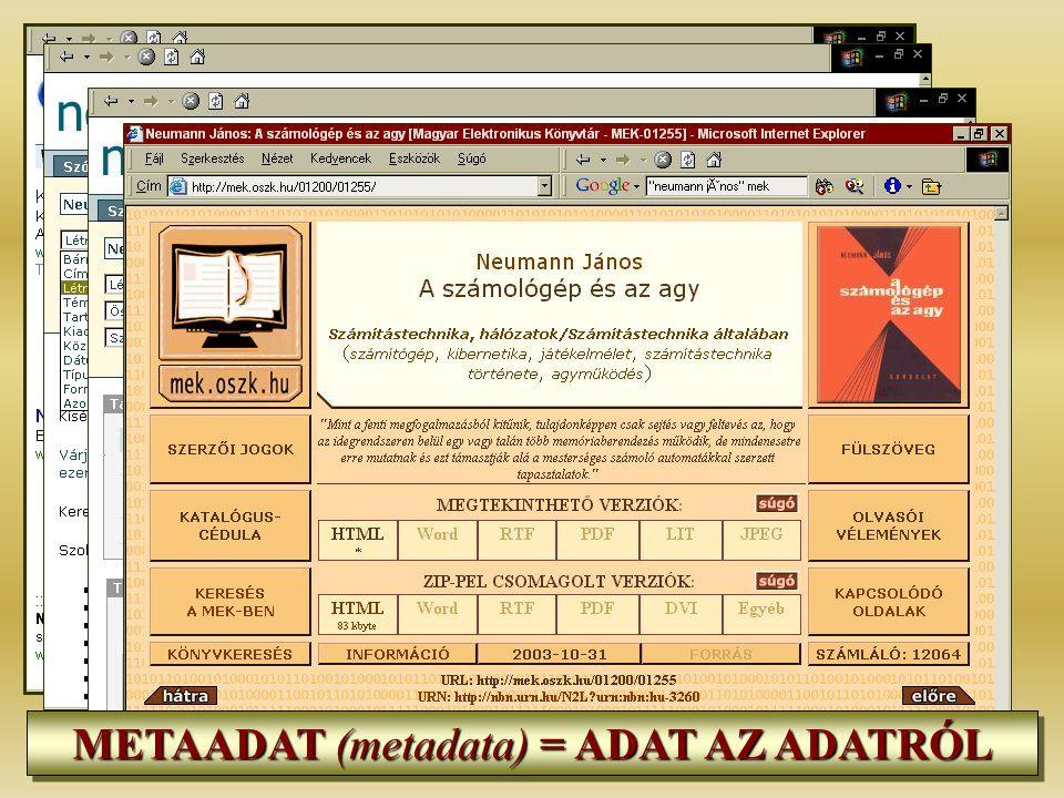METAADAT (metadata) = ADAT AZ ADATRÓL