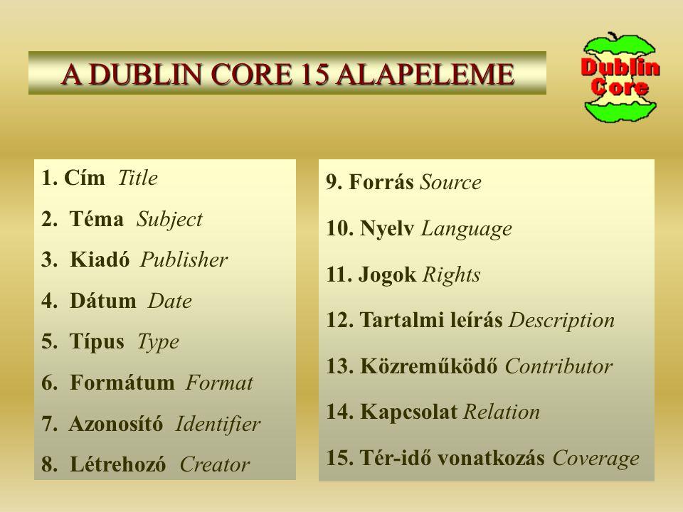 A DUBLIN CORE 15 ALAPELEME 1. Cím Title 2. Téma Subject 3.