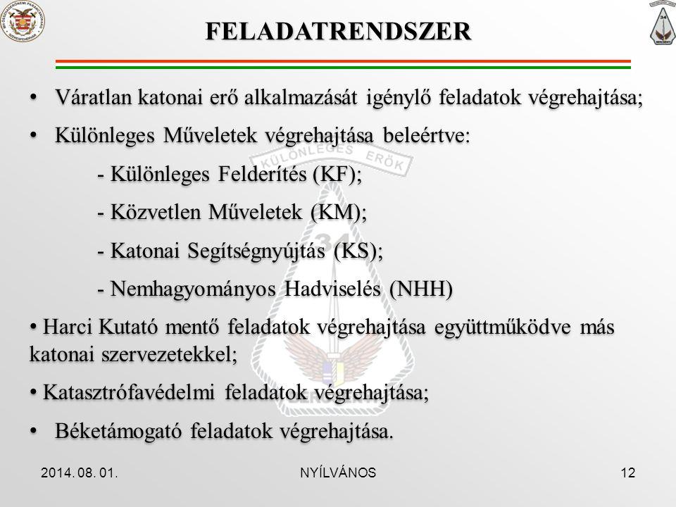 2014. 08. 01.NYÍLVÁNOS12 Váratlan katonai erő alkalmazását igénylő feladatok végrehajtása; Különleges Műveletek végrehajtása beleértve: - Különleges F