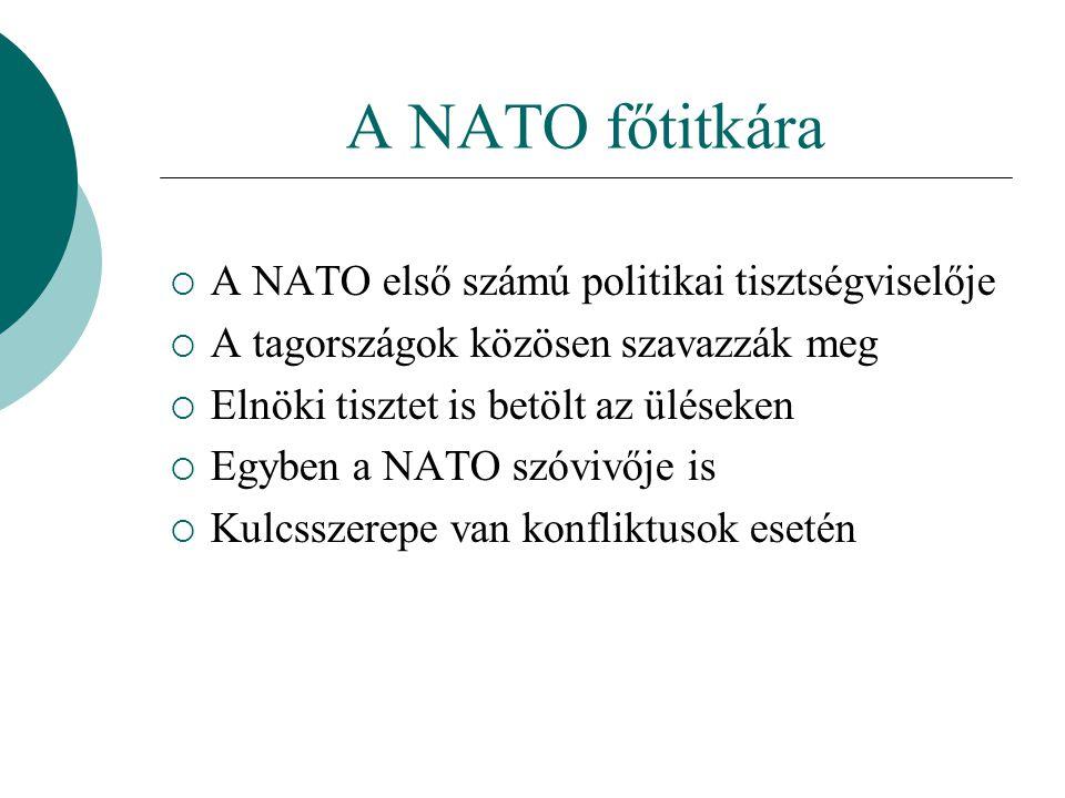 A NATO főtitkára  A NATO első számú politikai tisztségviselője  A tagországok közösen szavazzák meg  Elnöki tisztet is betölt az üléseken  Egyben a NATO szóvivője is  Kulcsszerepe van konfliktusok esetén