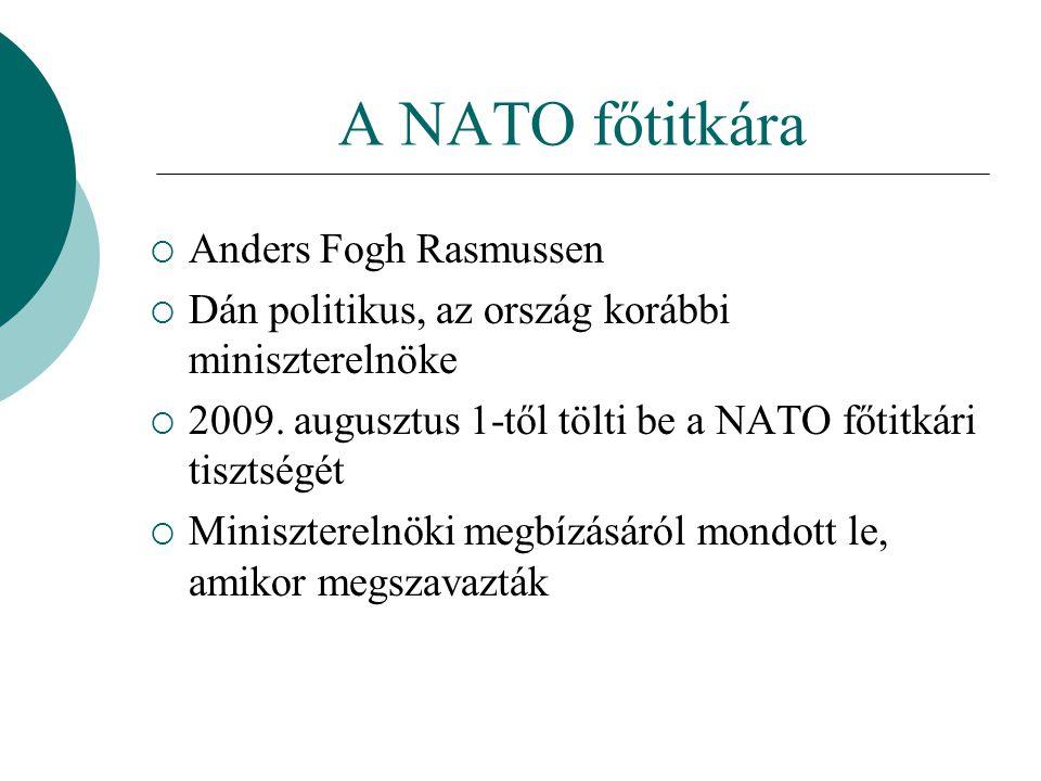 A NATO főtitkára  Anders Fogh Rasmussen  Dán politikus, az ország korábbi miniszterelnöke  2009.
