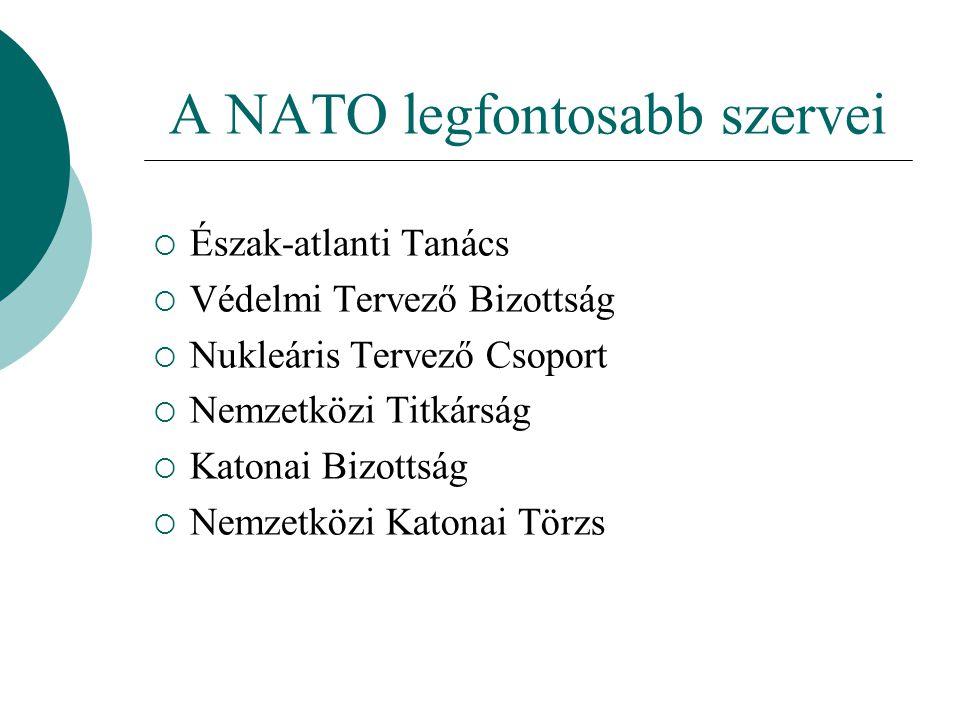A NATO legfontosabb szervei  Észak-atlanti Tanács  Védelmi Tervező Bizottság  Nukleáris Tervező Csoport  Nemzetközi Titkárság  Katonai Bizottság  Nemzetközi Katonai Törzs