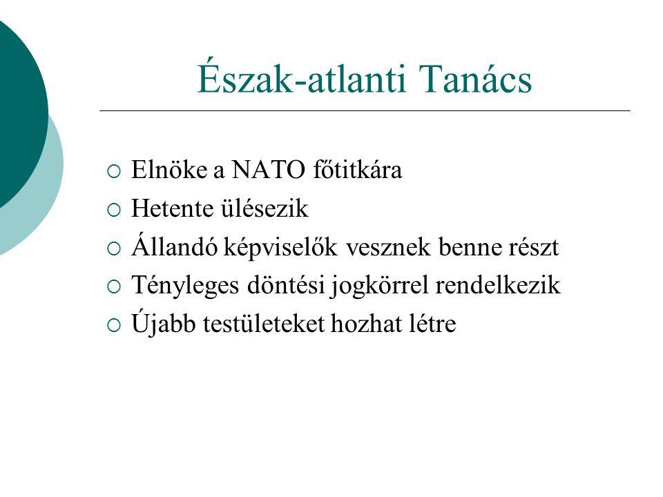 Észak-atlanti Tanács  Elnöke a NATO főtitkára  Hetente ülésezik  Állandó képviselők vesznek benne részt  Tényleges döntési jogkörrel rendelkezik  Újabb testületeket hozhat létre