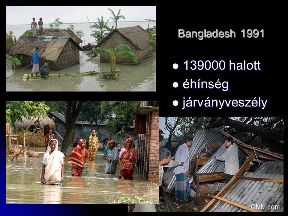 Bangladesh 1991 139000 halott 139000 halott éhínség éhínség járványveszély járványveszély