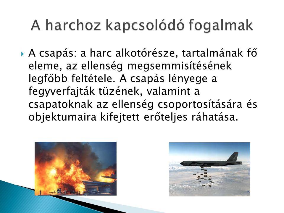  A tűz: a harc alapvető tartalma, a harcfeladat megoldásának sajátos módja, az erőkkel és eszközökkel mért csapás szerves része, a szárazföldön és levegőben vívott harcban az ellenség pusztításának alapvető eszköze.