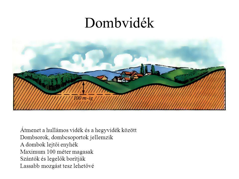 Dombvidék Átmenet a hullámos vidék és a hegyvidék között Dombsorok, dombcsoportok jellemzik A dombok lejtői enyhék Maximum 100 méter magasak Szántók é