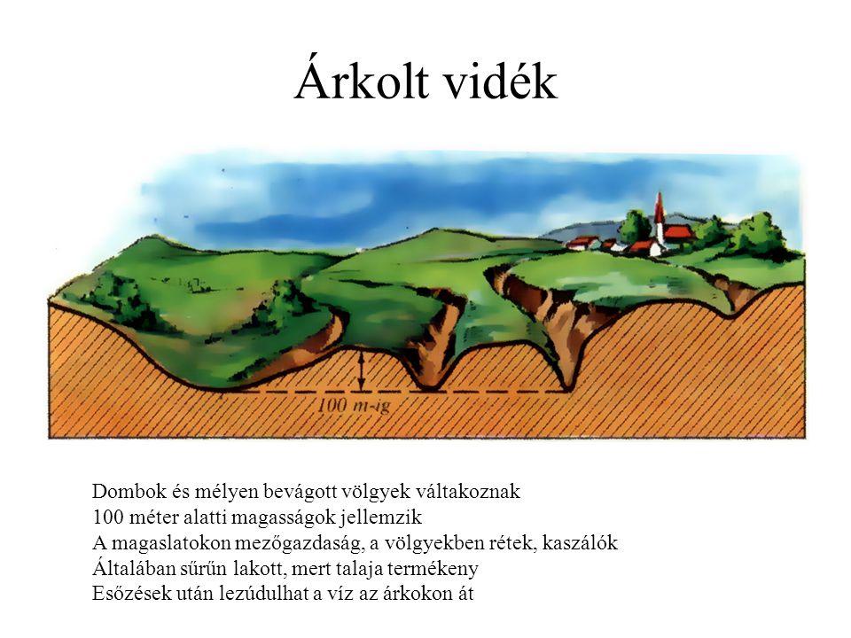 Árkolt vidék Dombok és mélyen bevágott völgyek váltakoznak 100 méter alatti magasságok jellemzik A magaslatokon mezőgazdaság, a völgyekben rétek, kasz