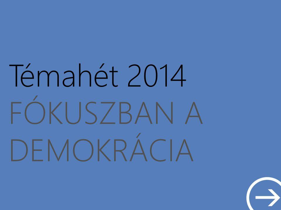 Témahét 2014 FÓKUSZBAN A DEMOKRÁCIA Néhány fontos információ A projekthét ideje: 2014.