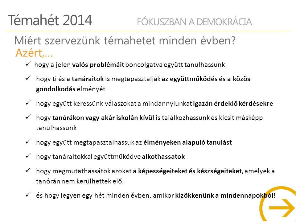 Témahét 2014 FÓKUSZBAN A DEMOKRÁCIA FONTOS DÁTUMOK Projektekre történő jelentkezés: 2014.